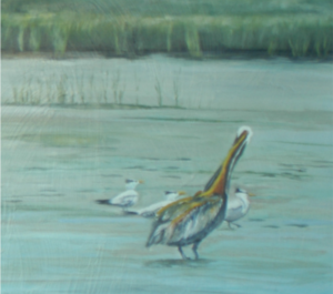 portion of an oil painting of pelicans on a salt marsh by Lee Mims